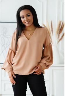Beżowa wizytowa bluzka z bufiastymi rękawami - Francine