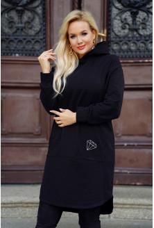 Długa czarna sukienko-bluza kangurek z ozdobnym haftem - Bethy