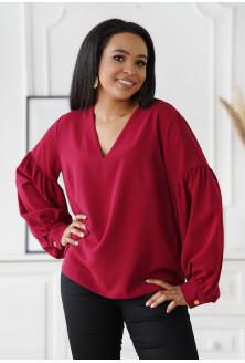 Bordowa wizytowa bluzka z bufiastymi rękawami - Francine