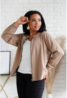Beżowa bluza bomberka ze złotym suwakiem - Calina