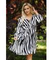 Sukienka w biało-czarny wzór zebry z falbankami - Renes