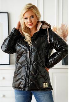 Dwustronna czarna krótka kurtka z beżem