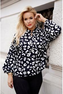 bluzka plus size w białe cętki