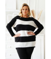 Ciepły sweter w biało-czarne paski - ASHEN