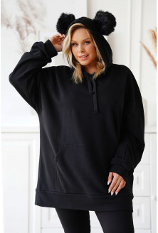 Czarna długa bluza kangurek XXL