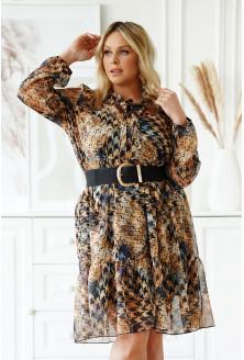 Czarna sukienka w brązowo-szary wzór