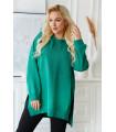 Zielona bawełniana bluza oversize z rozcięciami po bokach i kapturem - Bethany