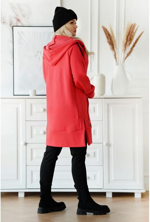 Malinowa długa bluza z suwakiem z rozcięciami po bokach - duży rozmiar