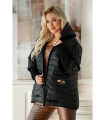 Czarna pikowana kurtka z rękawem zakończonym prążkowaną dzianiną - Honey