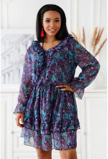 Zwiewna sukienka w fioletowe i niebieskie kwiaty - Terina