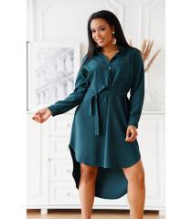 Butelkowa sukienka koszulowa z kieszonką i materiałowym paskiem - Avanti