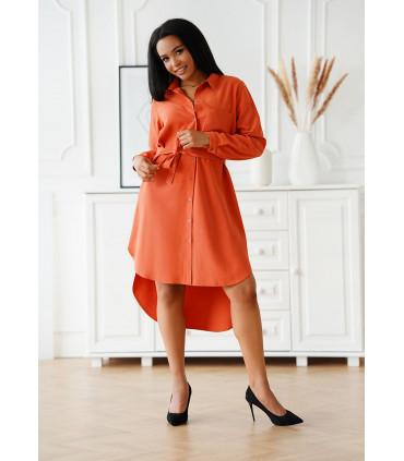 Ruda sukienka koszulowa z kieszonką i materiałowym paskiem - Avanti