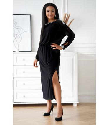 Czarna długa sukienka z diamentami - Carine