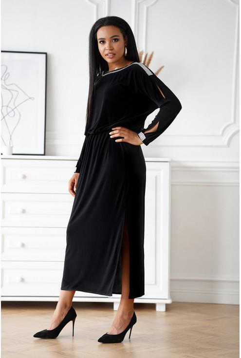 Czarna wizytowa długa sukienka z diamentami - duże rozmiary