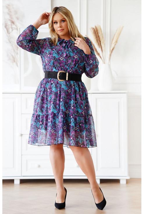 szyfonowa sukienka w kwiatowy wzór - xxl