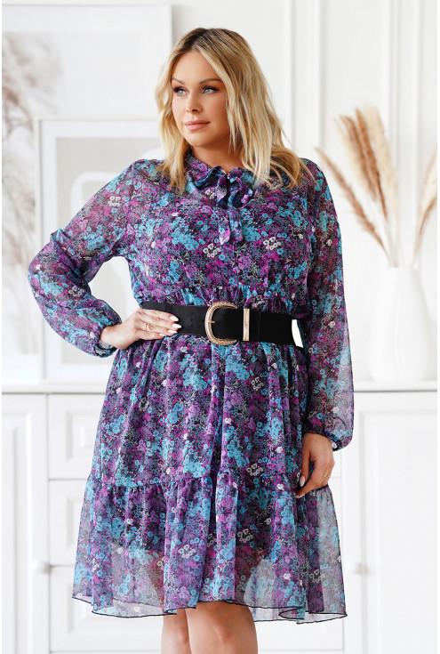 Rozkloszowana sukienka w fioletowe i niebieskie kwiaty z wiązaniem - Kasje