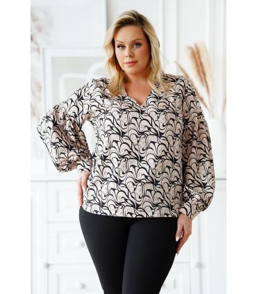 Beżowa bluzka z bufiastymi rękawami z czarnym wzorem - Francine