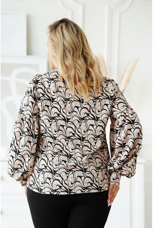 Beżowa bluzka z czarnym wzorem