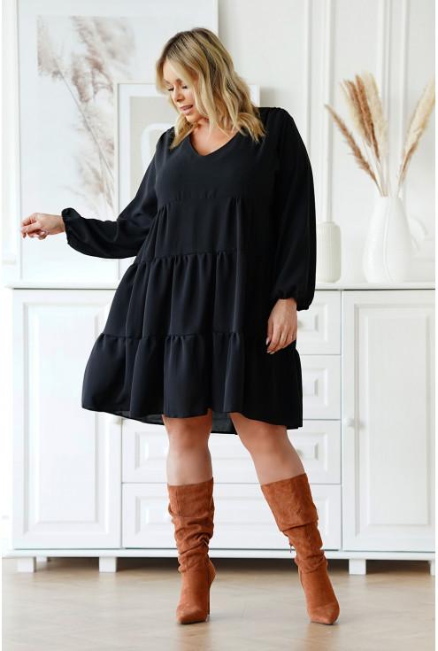 Czarna rozkloszowana sukienka z falbanami - Ritta