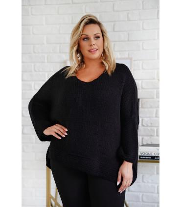 Czarny sweter z grubym splotem i obniżoną linią ramion - Ardea