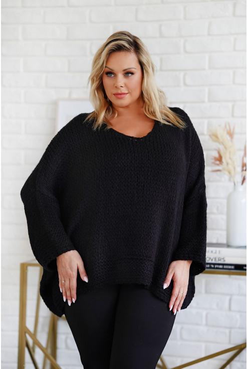 sweter z obniżoną linią ramion - duże rozmiary