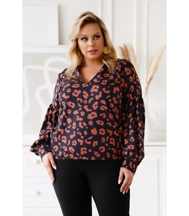 Czarna bluzka z bufiastymi rękawami w karmelowe cętki - Francine