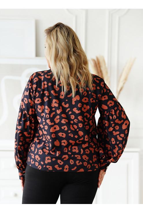 Czarna bluzka w karmelowe cętki