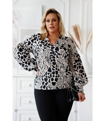 Czarna bluzka z bufiastymi rękawami w beżową panterkę - Francine