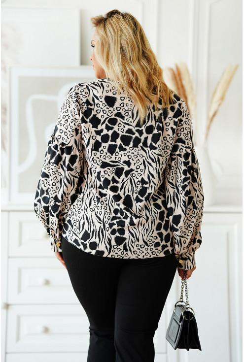 czarna bluzka plus size z bufkami