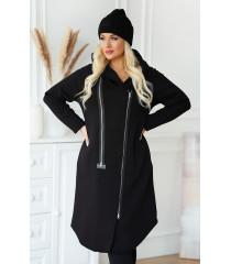 Czarny płaszczyk jesienny dresowy plus size ARJA