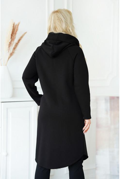 czarny płaszcz jesienny z kapturem