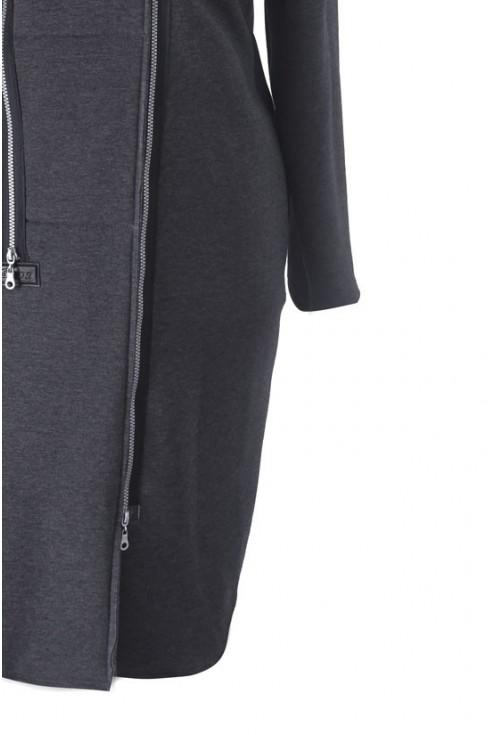 Grafitowy płaszczyk dresowy plus size ARJA