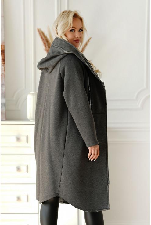 grafitowy płaszcz z suwakami Arja