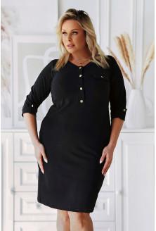 Czarna sukienka ze złotymi guziczkami