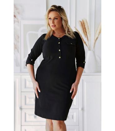 Czarna sukienka ze złotymi guziczkami - Meghan