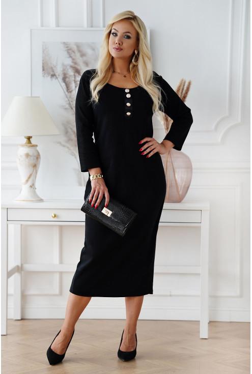 sukienka z prążkiem z długim rękawem