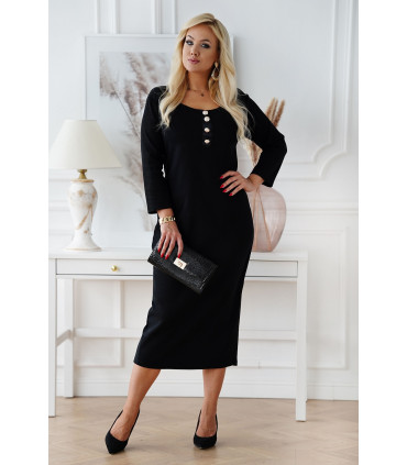 Czarna długa sukienka maxi z prążkiem z długim rękawem - Giselle