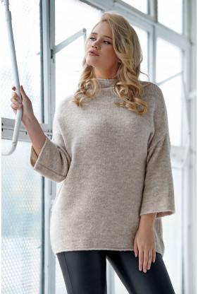 Jasnobeżowy melanż sweter z rękawem 3/4 - xxl