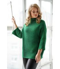 Zielony sweter z rękawem 3/4 i stójką - Altea