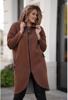 Brązowy ciepły płaszczyk plus size