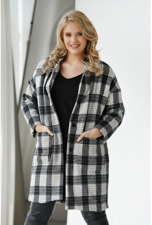 Płaszcz oversize w szaro-czarno-białą kratkę