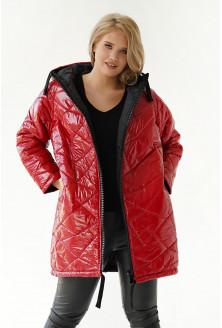 Czerwona ciepła długa pikowana kurtka z kapturem - Venice