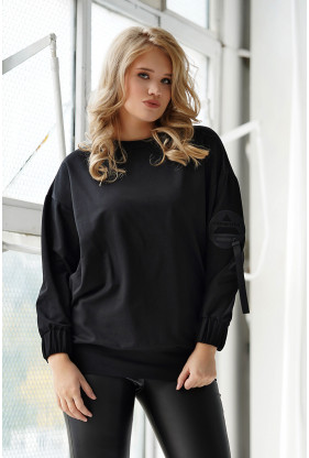 Czarna bluza oversize z naszywką