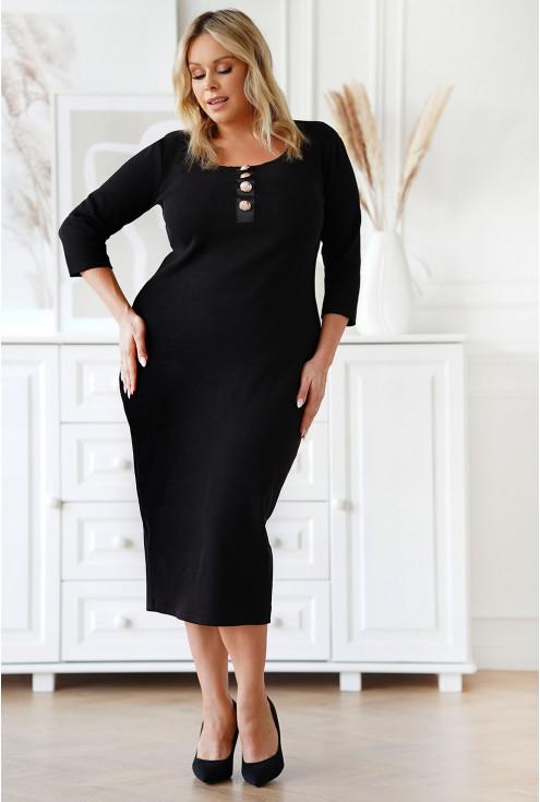 czarna zmysłowa dopasowana sukienka xxl