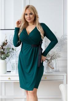 Kopertowa butelkowa sukienka z wiązaniem w talii plus size