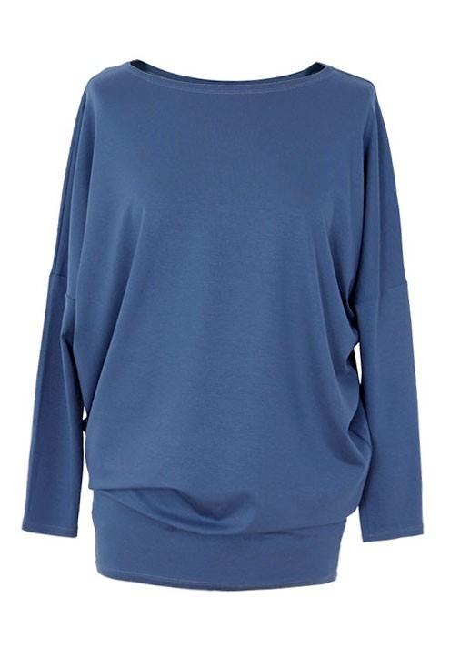Bluzka tunika z wiskozy niebieska BASIC