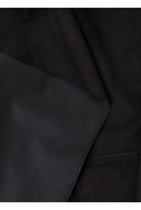 Czarny żakiet z eco skóry Elle |do 54