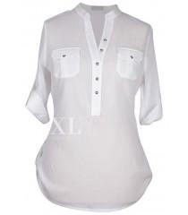 Biała bluzka wizytowa plus size- IDA