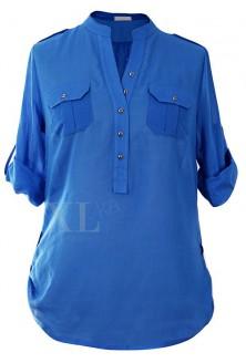 Niebieska-chabrowa bluzka wizytowa IDA