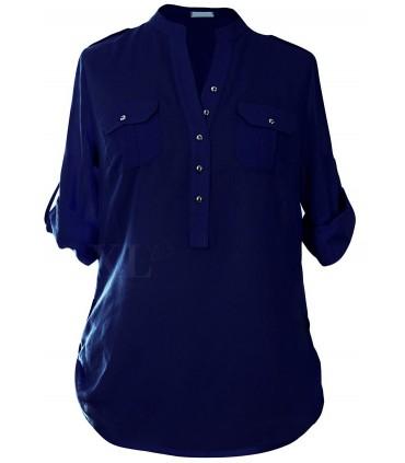 Granatowa bluzka wizytowa plus size - IDA